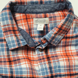 Gymboree Blue Orange Boys Flannel Shirt 3T Used View 3