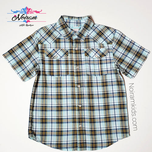 Gymboree Boys Blue Plaid Shirt Used View 1