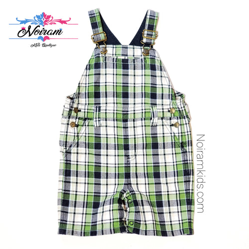 Gymboree Boys Plaid Overall Shorts 2T Used View 1