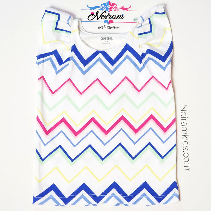 Gymboree Girls Chevron Print Top XS Used View 1