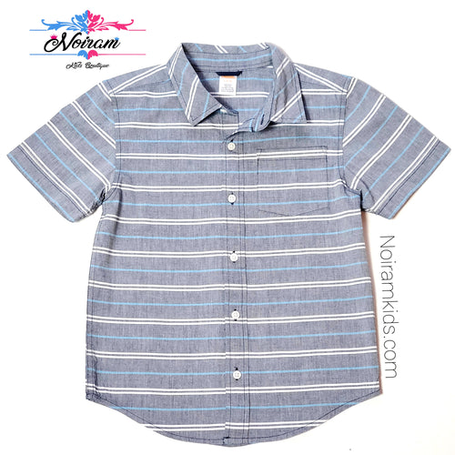 Gymboree Grey Striped Boys Shirt Size 5 Used View 1