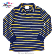 Load image into Gallery viewer, Hanna Andersson Blue Striped Boys Polo Shirt Used View 1