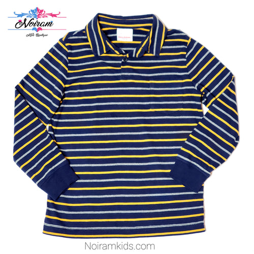 Hanna Andersson Blue Striped Boys Polo Shirt Used View 1