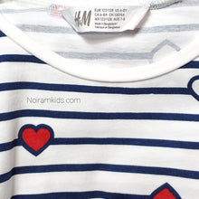 Load image into Gallery viewer, HM Heart Striped Girls Shirt Used View 4