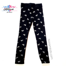Load image into Gallery viewer, HM Girls Black Silver Unicorn Leggings Used View 1