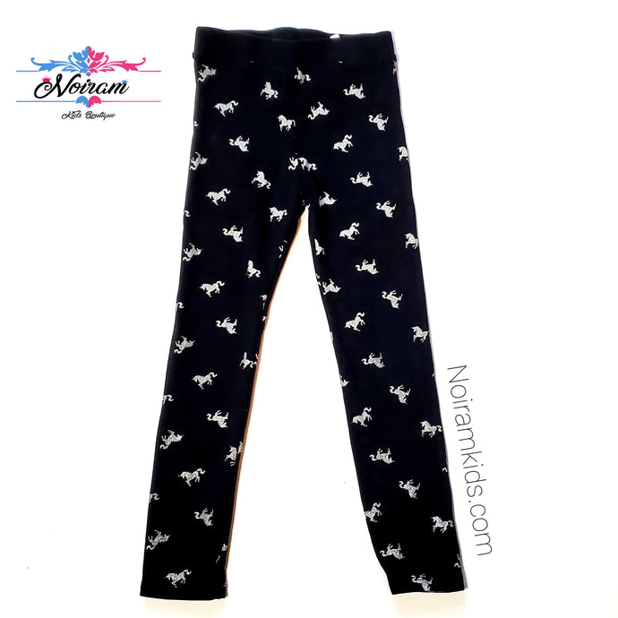 HM Girls Black Silver Unicorn Leggings Used View 1
