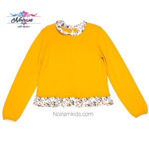 HM Yellow Floral Girls Sweater Size 6 Used View 1