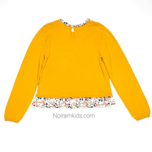 HM Yellow Floral Girls Sweater Size 6 Used View 2