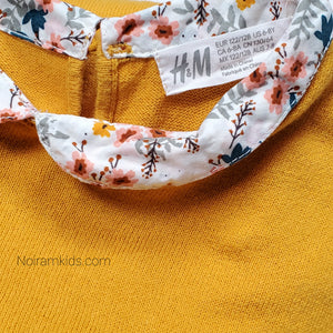 HM Yellow Floral Girls Sweater Size 6 Used View 3