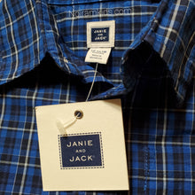 Load image into Gallery viewer, Janie Jack Blue Plaid Boys Shirt 12M NWT View 3