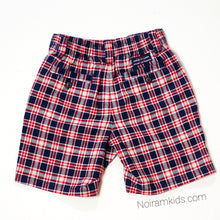 Load image into Gallery viewer, Janie Jack Baby Boys Red Blue Plaid Shorts Used View 2