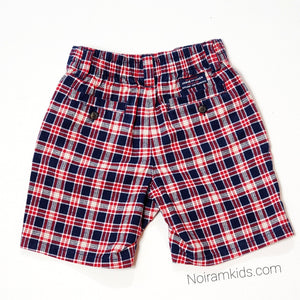 Janie Jack Baby Boys Red Blue Plaid Shorts Used View 2
