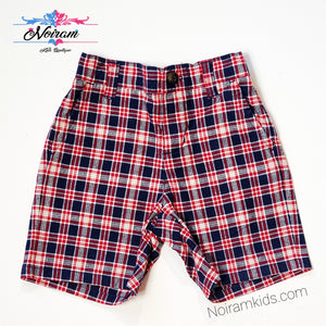 Janie Jack Baby Boys Red Blue Plaid Shorts Used View 1