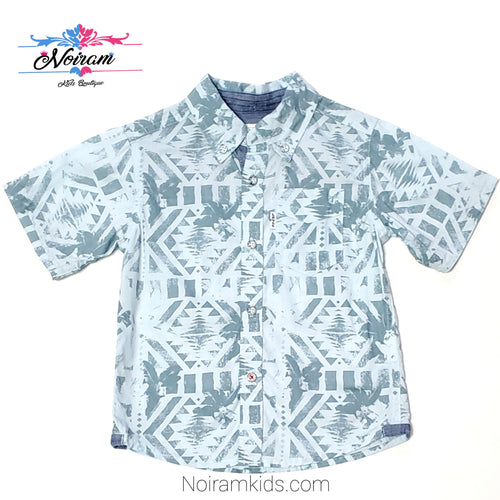 Levis Blue Patterned Boys Button Down Shirt 2T Used View 1
