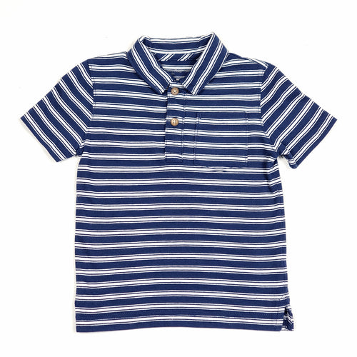 Baby Gap Boys Navy Blue Striped Polo Shirt 2T Used View 1