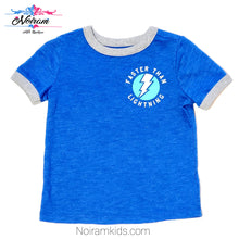 Load image into Gallery viewer, Old Navy Baby Boys Blue Lightning Graphic Tee Used View 1