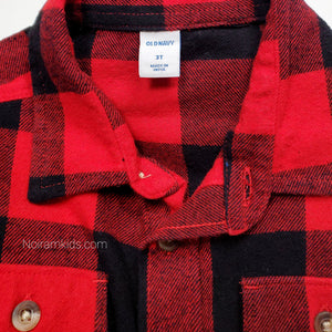 Old Navy Buffalo Plaid Flannel Boys Shirt 3T Used View 3