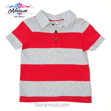 Load image into Gallery viewer, Old Navy Red Grey Striped Boys Polo Shirt Used View 1
