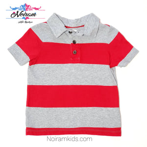 Old Navy Red Grey Striped Boys Polo Shirt Used View 1