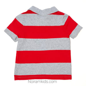 Old Navy Red Grey Striped Boys Polo Shirt Used View 2