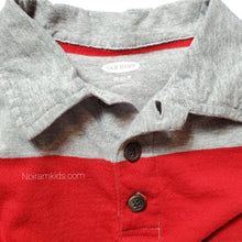 Load image into Gallery viewer, Old Navy Red Grey Striped Boys Polo Shirt Used View 3