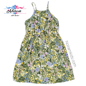 Old Navy Olive Green Floral Girls Dress Size 6 Used View 1