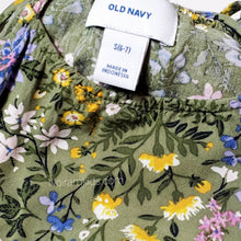 Load image into Gallery viewer, Old Navy Olive Green Floral Girls Dress Size 6 Used View 3