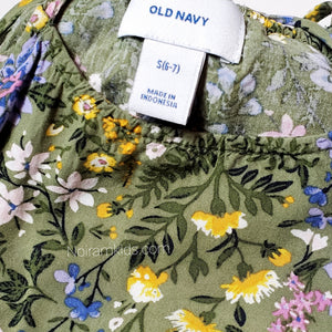 Old Navy Olive Green Floral Girls Dress Size 6 Used View 3