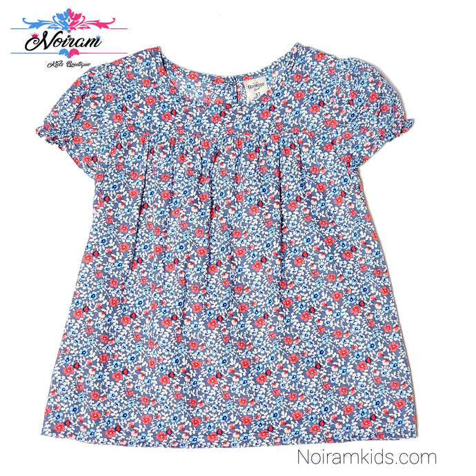 Oshkosh Blue Floral Girls Top 3T Used View 1