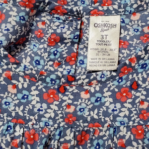Oshkosh Blue Floral Girls Top 3T Used View 4