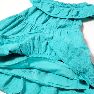 Genuine Kids Oshkosh Girls Teal Tiered Dress 2T Used View 2
