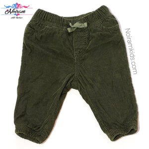 Oshkosh Baby Boys Olive Green Corduroy Joggers Used View 1