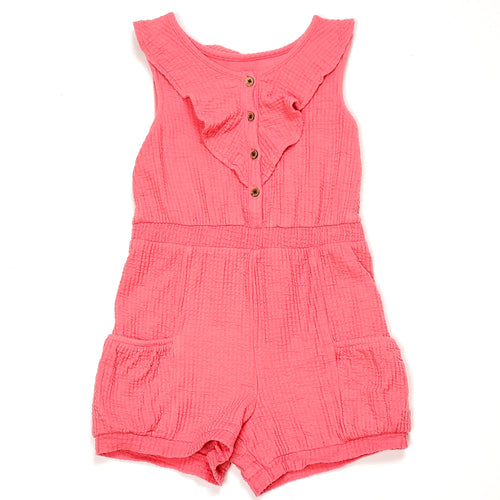 Genuine Kids Oshkosh Girls Pink Knit Romper 5T Used View 1