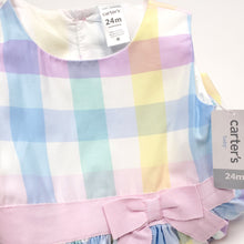 Load image into Gallery viewer, Carters Pastel Plaid Girls Dress 24M NWT View 4