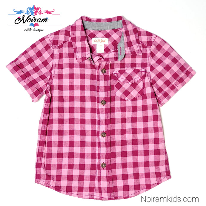 Cat Jack Pink Check Plaid Girls Shirt 18M Used View 1