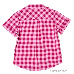 Cat Jack Pink Check Plaid Girls Shirt 18M Used View 2