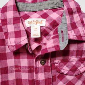 Cat Jack Pink Check Plaid Girls Shirt 18M Used View 3