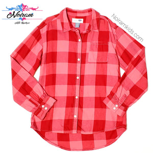 Old Navy Pink Red Flannel Girls Shirt Large Used View 1