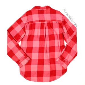 Old Navy Pink Red Flannel Girls Shirt Large Used View 2
