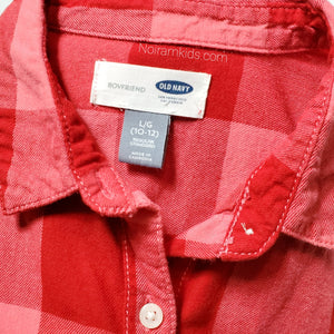 Old Navy Pink Red Flannel Girls Shirt Large Used View 3