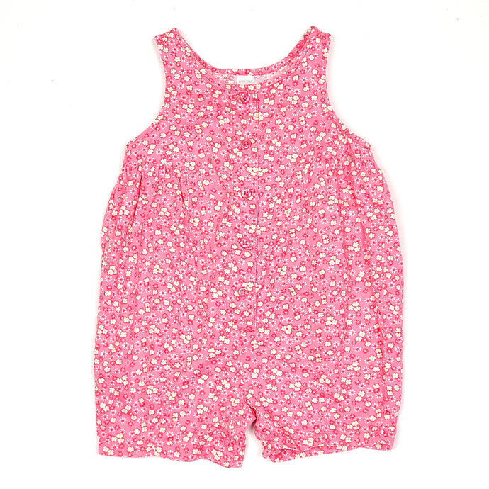 Lands End Pink Floral Girls Romper 6M Used View 1