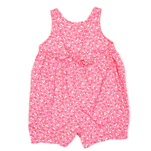 Lands End Pink Floral Girls Romper 6M Used View 3