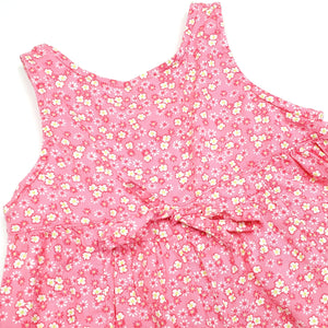 Lands End Pink Floral Girls Romper 6M Used View 4