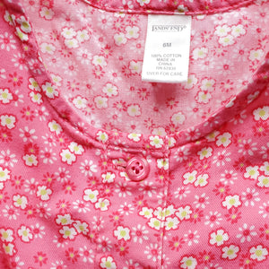 Lands End Pink Floral Girls Romper 6M Used View 5