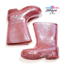 Load image into Gallery viewer, Pink Glitter Gymboree Girls Rain Boots Size 5 Used View 2