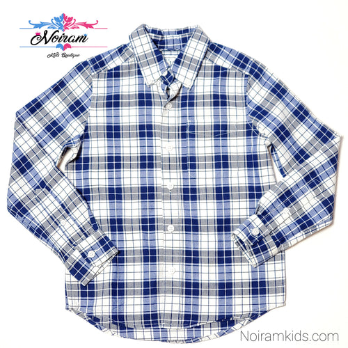 Childrens Place Blue Plaid Boys Shirt Size 5 Used View 1