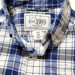 Childrens Place Blue Plaid Boys Shirt Size 5 Used View 3