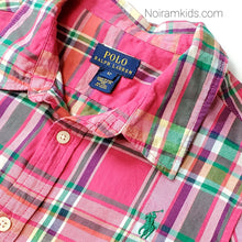 Load image into Gallery viewer, Polo Ralph Lauren Girls Pink Plaid Shirt Used View 2