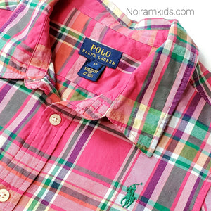 Polo Ralph Lauren Girls Pink Plaid Shirt Used View 2