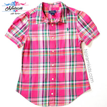 Load image into Gallery viewer, Polo Ralph Lauren Girls Pink Plaid Shirt Used View 1